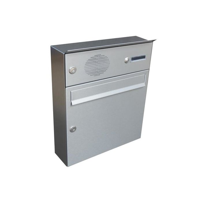 A-01 Surface mounted stainless steel letterbox with bell & intercom