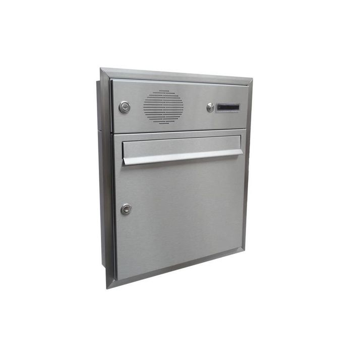 A-01 Stainless steel flush-mounted letterbox with bell & intercom