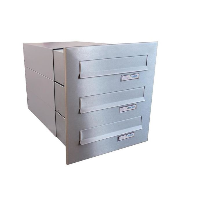 B-042 3-door stainless steel Through Wall letterbox system (variable depth)