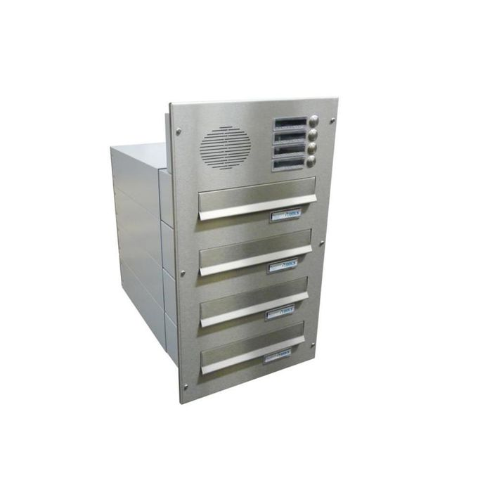 B-042 4-door stainless steel Through Wall letterbox system with bells & intercom