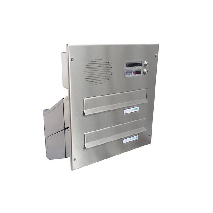 D-041 2-door stainless steel Through Wall letterbox with bells & intercom