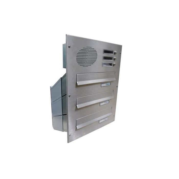D-041 3-door stainless steel Through Wall letterbox with bells & intercom
