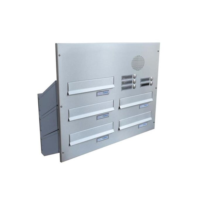 D-041 5-door stainless steel Through Wall letterbox system with bells & intercom