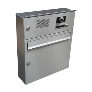 A-01 Surface mounted stainless steel letterbox with bell,...