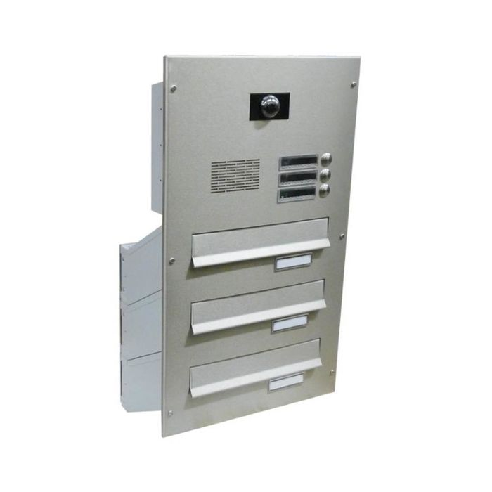 D-041 3-door stainless steel through wall letterbox system with bells, speech screen & camera