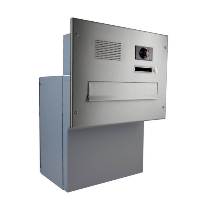 F-042 XXL Stainless Steel through wall Letterbox with Bell, intercom & Camera