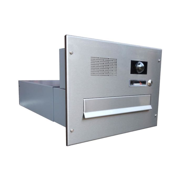 B-042 Stainless Steel through wall Letterbox with Bells, intercom & Camera
