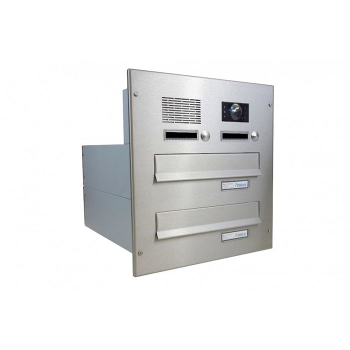 B-042 2-door stainless steel through wall letterbox system with bells, intercom & camera