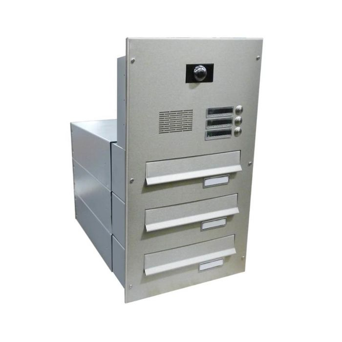 B-042 3-door stainless steel through wall letterbox system with bells, intercom & camera