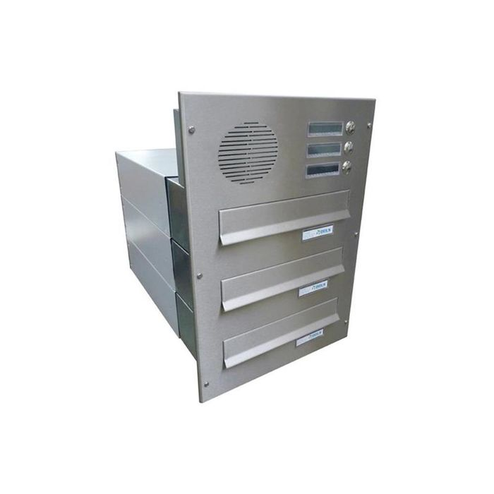 B-042 3-door Stainless Steel Through Wall Letterbox System with Bells & intercom (Variable Depth)