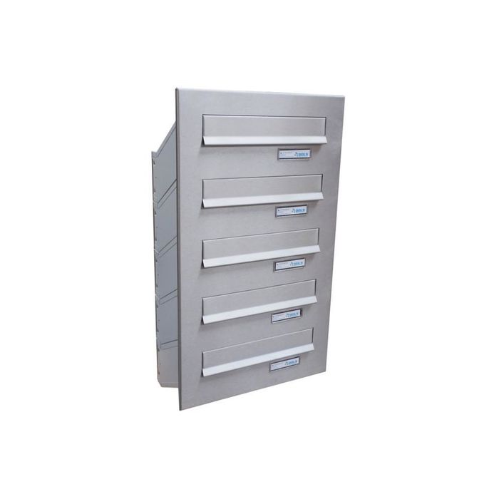 D-041 5-door Stainless Steel Through Wall Letterbox System