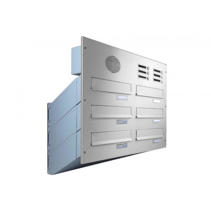 D-041 6-door stainless steel Through Wall letterbox system with bells & intercom