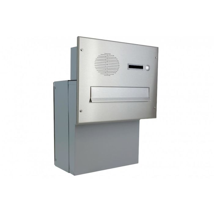 F-04 Stainless Steel through wall Letterbox with Bell & Intercom (variable depth)